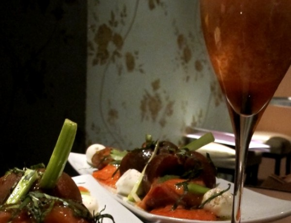 Bloody Mary Salad, Champagne Coctail : Pasion Fresa