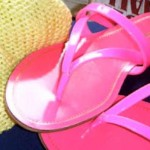 Miu Miu fluo pink sandals and Neon yellow jumper