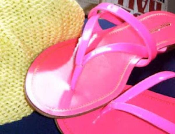 Miu Miu fluo pink sandals and Neon yellow jumper