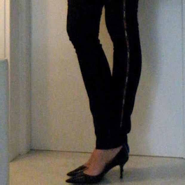 Isabel Marant black Beaded Jeans, Jimmy Choo Kitten heels