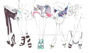 Sketch by Gattobravo Miao : The shoes are from the audience at Stella McCartney's Spring/Summer 2012 show at the Opéra national de Paris.