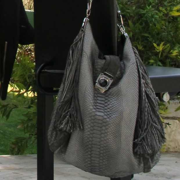 Celine Snake Python Gray Handbag