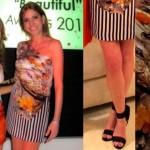 Nina Papaioannou in Mary Katrantzou dress, Gucci Sandals