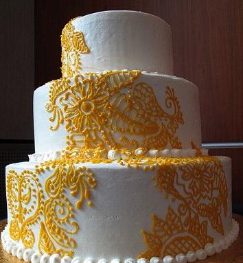 Yellow Lace wedding cake decoration