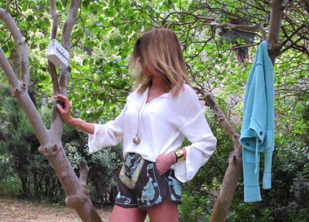 Heavenly Foulard Print Shorts