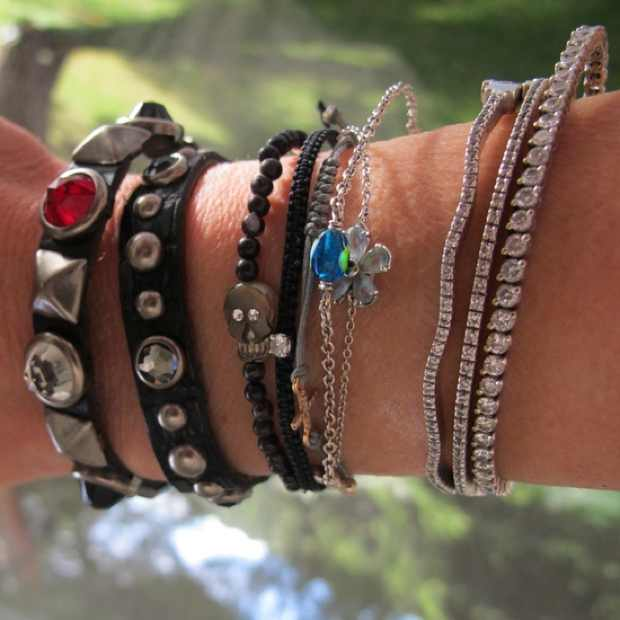 mixed diamonds and leather studded bracelets