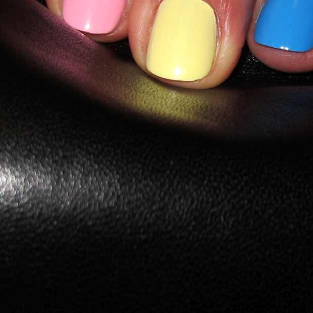 pink yellow blue multicolor nails