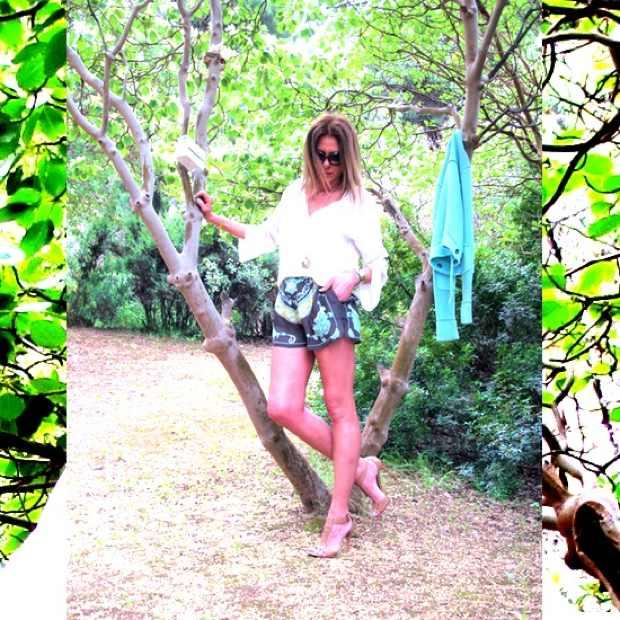 Zara shorts, Alaia sandals, Chanel bag