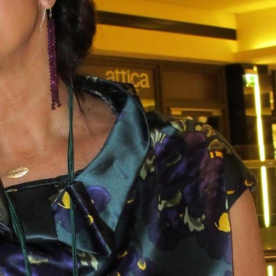 Maria Xanthako's jewelry and Marni dress