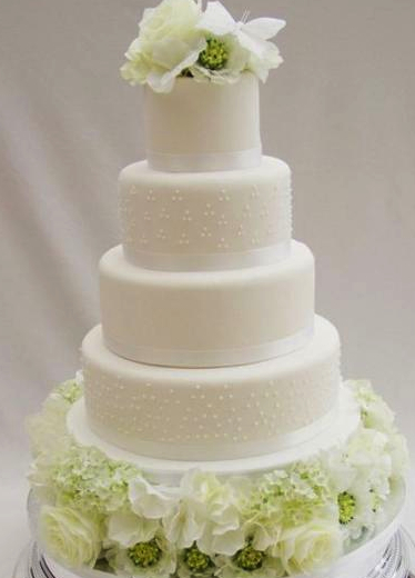 elegant white wedding cake, 5 tier round white wedding cake with white flowers