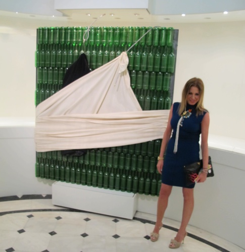 Nina Papaioannou at the Jannis Kounellis exhibition in the Museum of Cycladic art