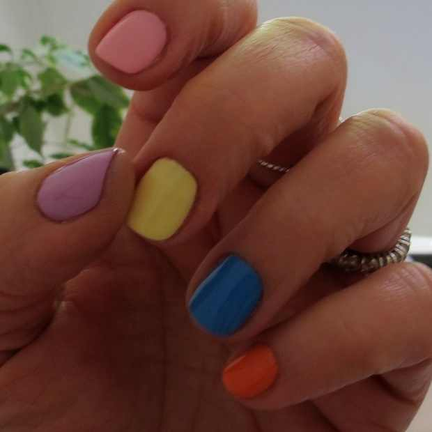 pink yellow blue orange multicolor nails