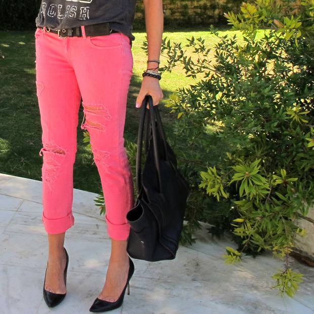 bright colored jeans