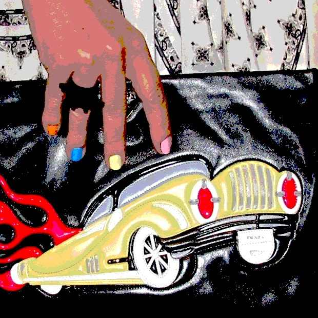 pink yellow blue multicolor nails Prada fantasy black leather car handbag