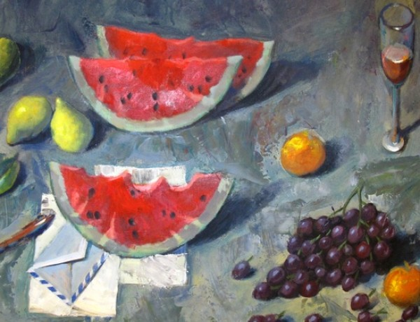 Pavlos Samios, painting, watermelon