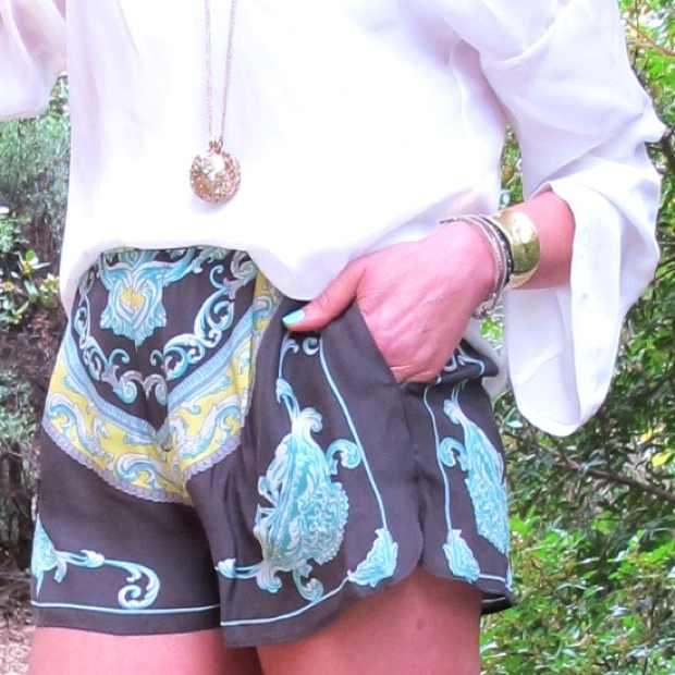 sara silk shorts scarf print