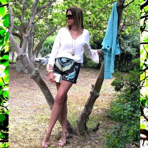 Zara silk scarf shorts Chanel bag