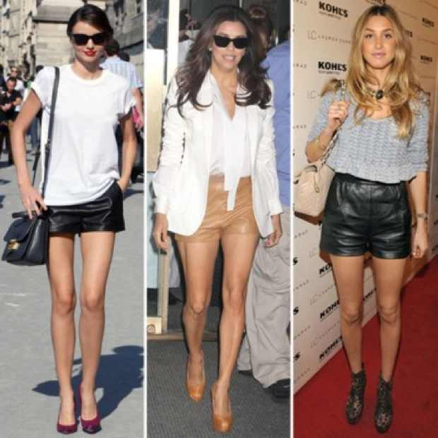 Celebrities Wearing  leather Shorts