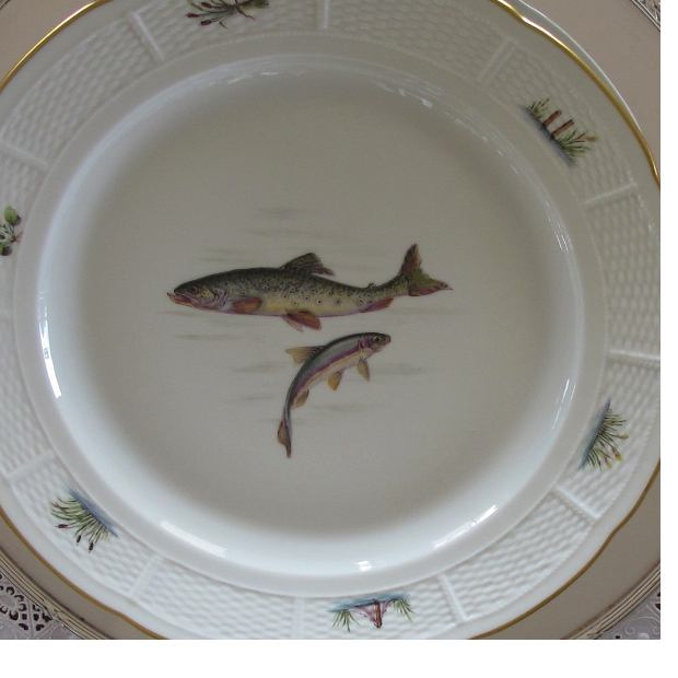Fish Painted plate Nymphenburg porcelain, table manners