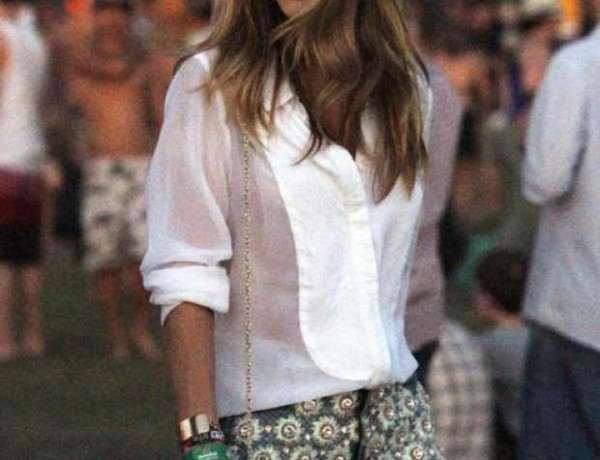 Rosie Huntington-Whitely at Coachella wearing J Brand: Christopher Kane embellished short