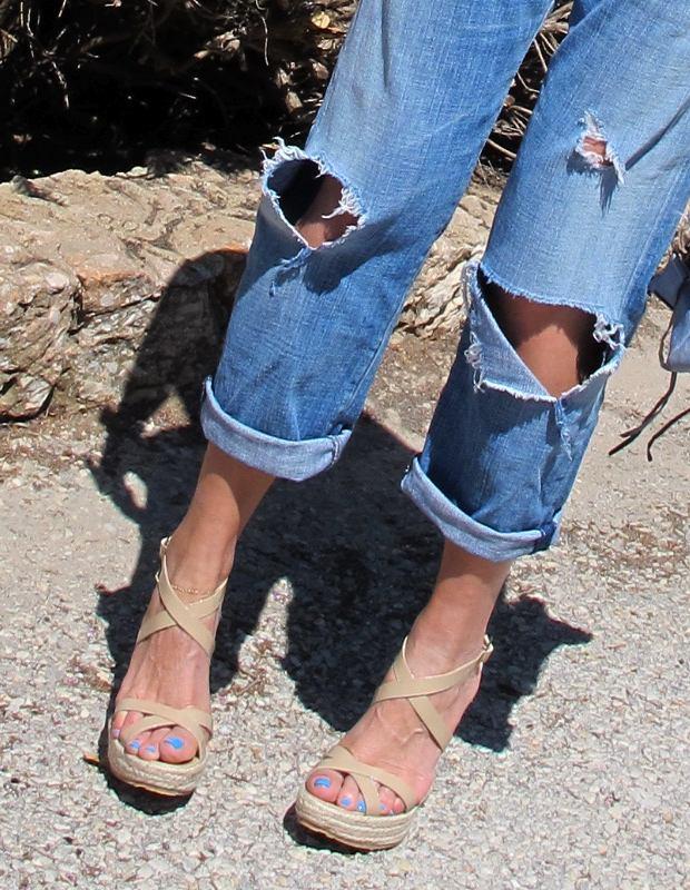 Ripped boyfriend jeans, Jimmy Choo espadrilles