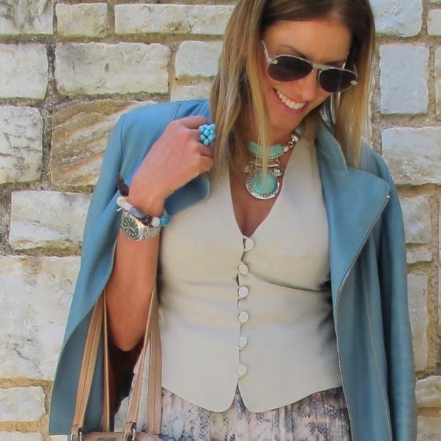 Light Blue Tod's leather jacket, boho luxe jewelry