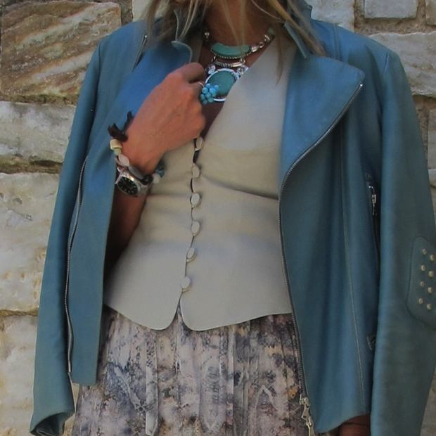Blue leather jacket Tod's , boho luxe style