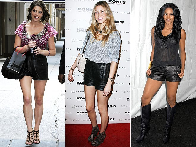 Celebrities wearing Black Leather shorts