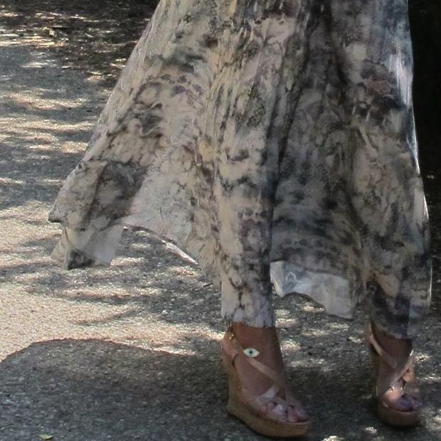 Long Lizard Print Skirt
