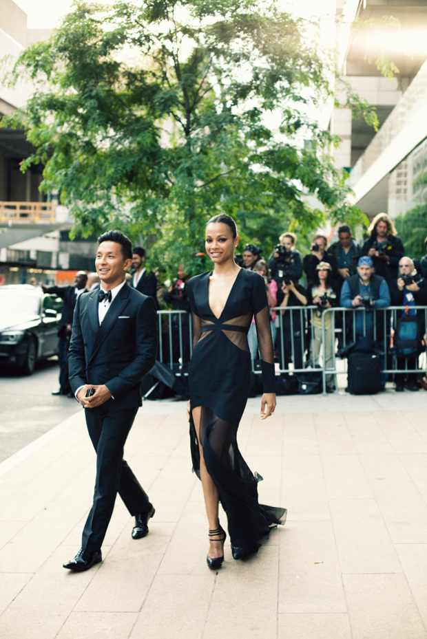 CFDA Awards 2012 Red Carpet dresses black dress Designer Prabal Gurung at the CFDA with Zoe Saldana