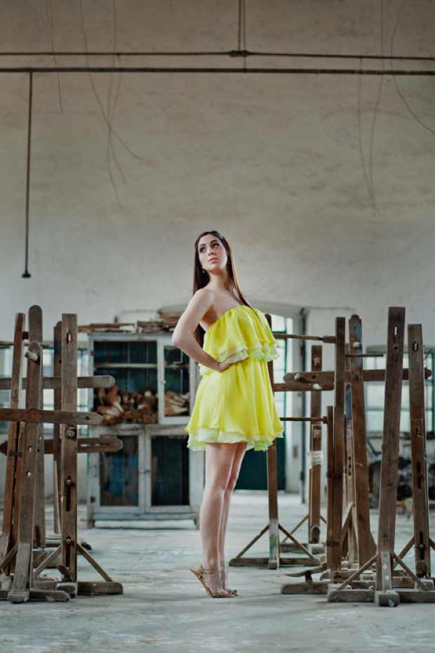 AdT Collection Silk yellow short dress
