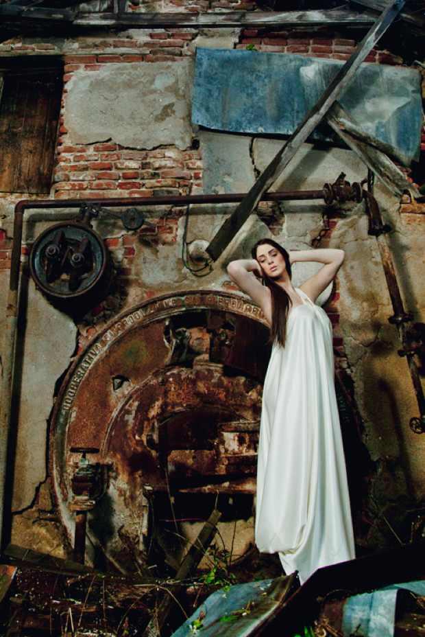 Ivory Silk long Grecian dress AdT
