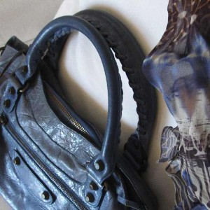 Balenciaga blue Bag Blue silk dress detail