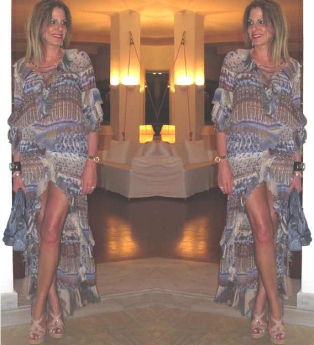 Boho Chic Elisabetta Franchi dress Mykonos Blu Lobby