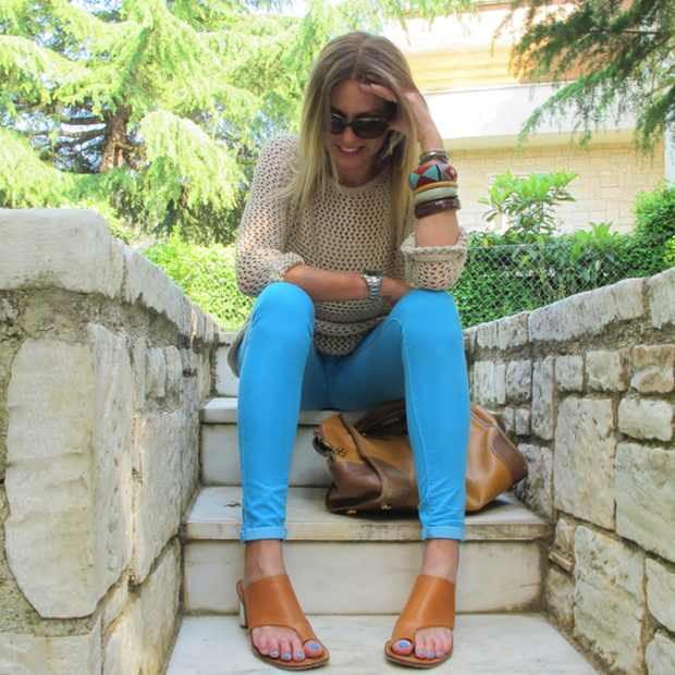 Casual Skinny Blue Topshop Colored jeans Outfit