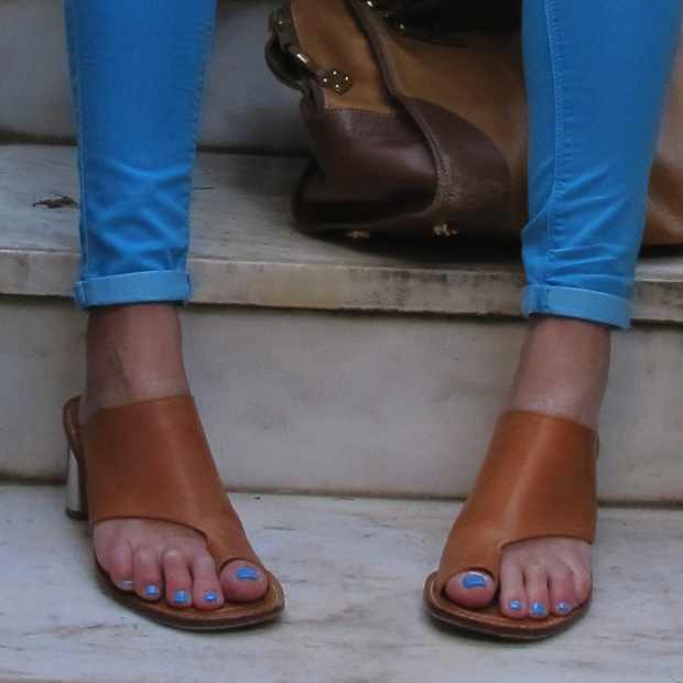 Celine Sandals metal heel blue jeans