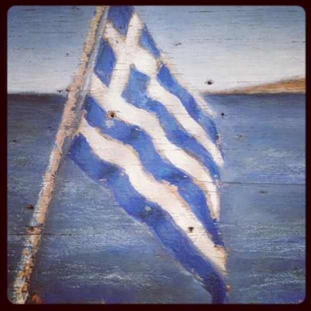 Greek flag painting