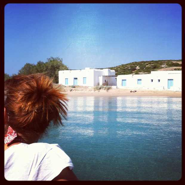 Gina's red hair Lageri Beach Paros