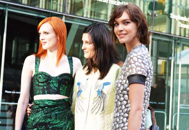 Karen Elson and Tabitha Simmons, both in Proenza Schouler, with Arizona Muse, in Diane von Furstenberg.