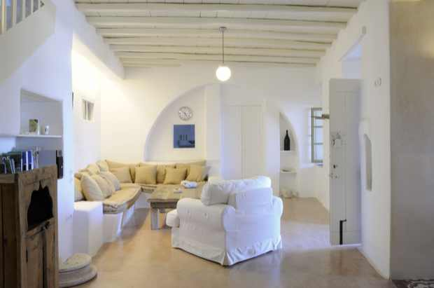 Living Area , Beach front ,Mykonos Villa Rent