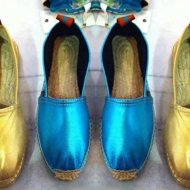 Penelope Chilvers Turquise Leather espadrilles