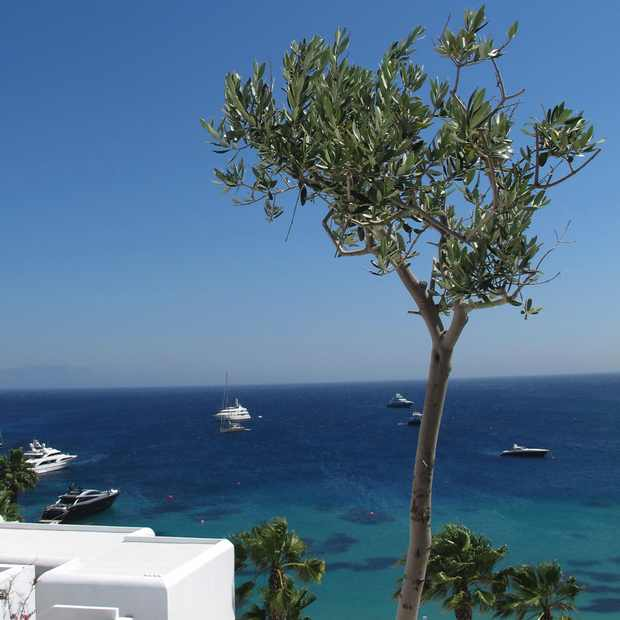 Travel Greece Mykonos Blu Psarou beach View boats