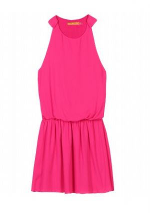Alice and Olivia Bright neon pink silk dress