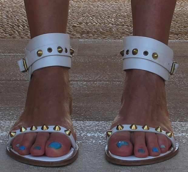 White Flat Sandals  Gold spikes, blue nails