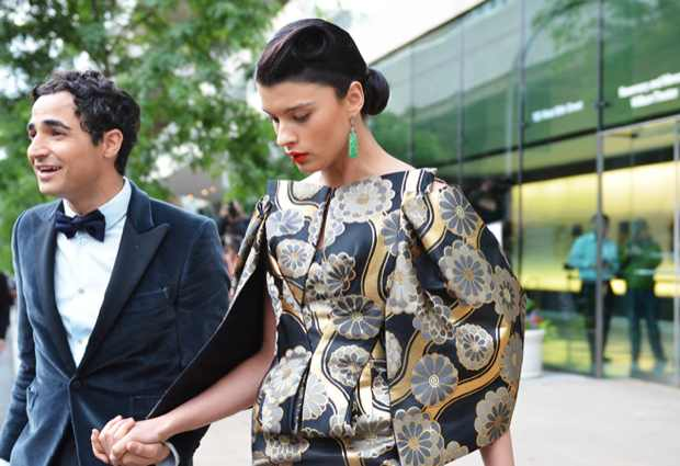 Zac Posen with Crystal Renn, in a dress by the designer