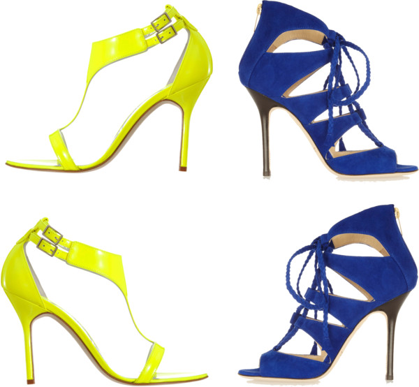Manolo Blahnik yellow sandals VS Jimmy Choo Blue sandals 2012