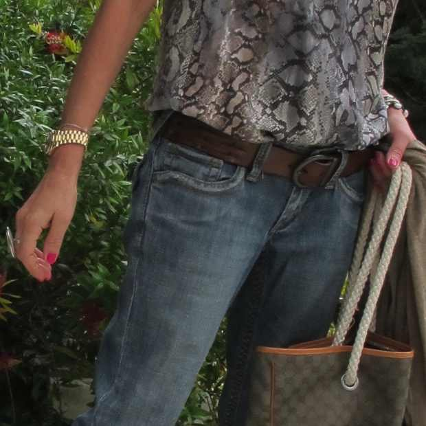 Casual Boho Chic, Abercrombie and Fitch belt, Gucci Travel Bag