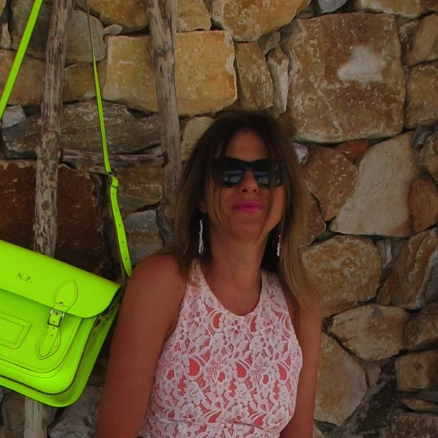 Lace Neon Orange dress, Neon yellow bag