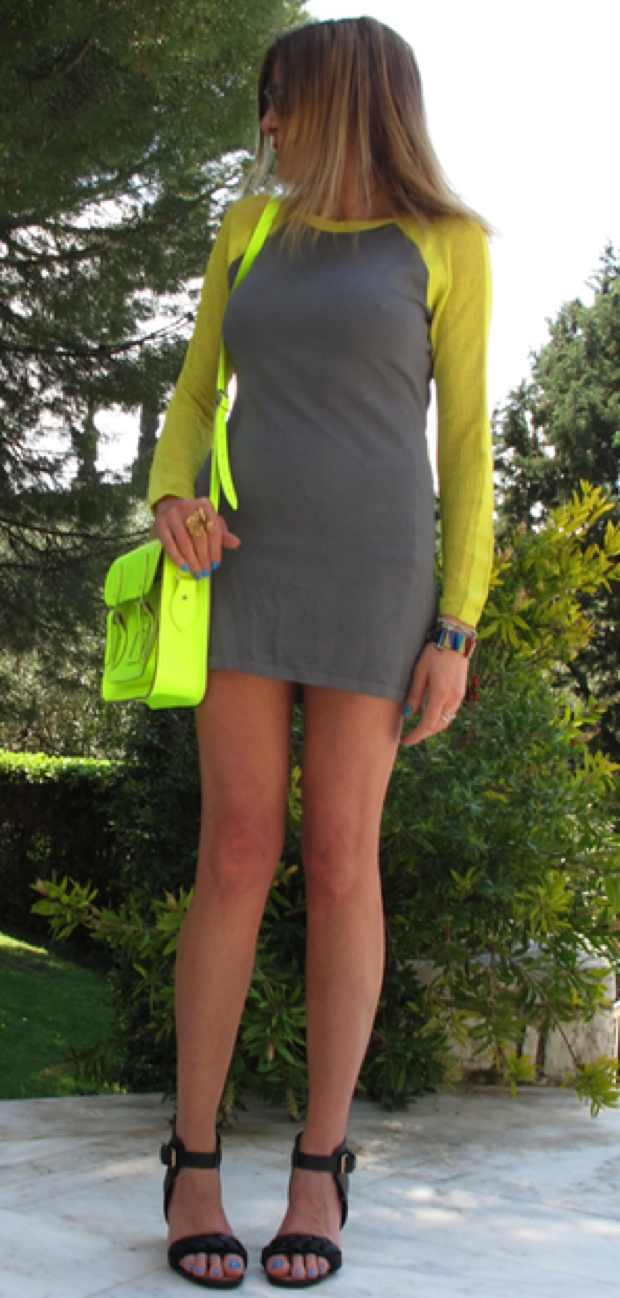 Yellow Neon Bright The Cambridge Satchel Company, Topshop Grey Dress