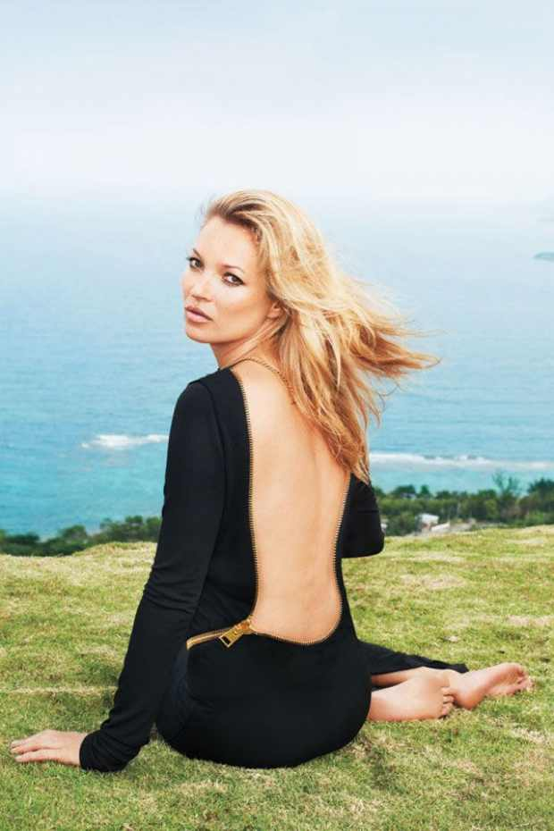 Kate Moss in Harpers Bazaar June 2012 back low cut